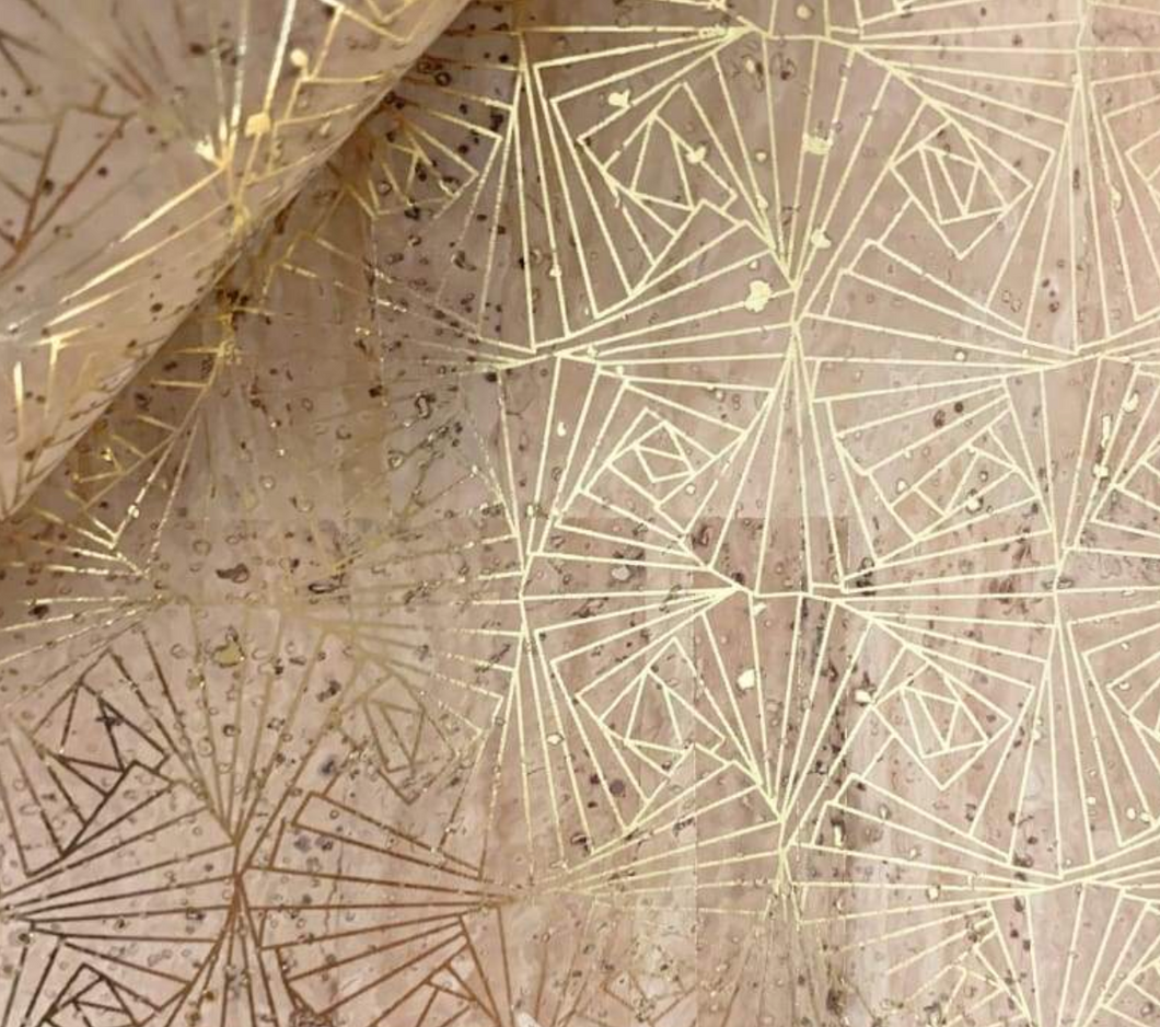 Cork Fabric - Natural with Gold Geometric Print