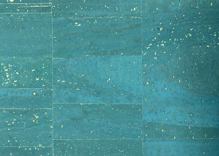 Cork Fabric -Seaside Teal w/Gold
