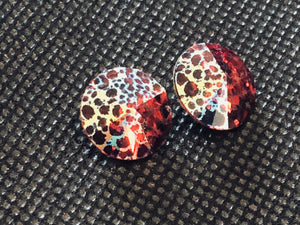 Swarovski Rivoli 12mm - Scarlet White Patina 2 pcs