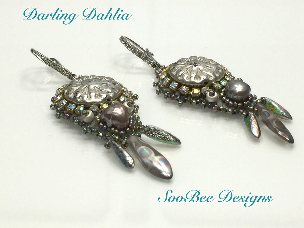 TUTORIAL ONLY - Darling Dahlia Bead Embroidery Earring