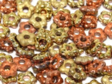 Flower Bead 5mm California Gold Rush Etched - 100 beads