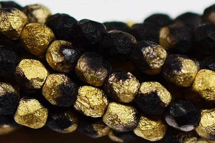 Fire Polished 4mm Etched Black Gold 50 pcs
