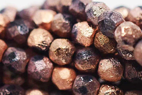 Fire Polished 4mm Etched Matted Copper Ore 50 pcs