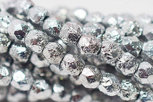 Fire Polished 3mm Etched Silver Ore 50 pcs