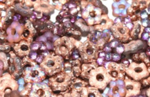 Flower Bead 5mm Crystal Copper Rainbow Etched - 100 beads