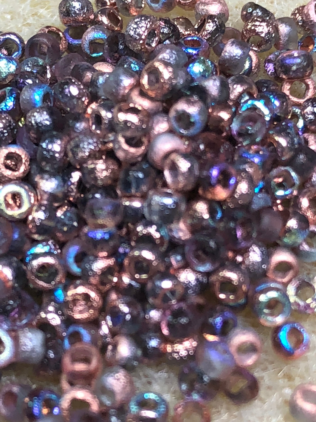 Seed Bead - Etched Copper Rainbow 8/0  - 10 gm tube