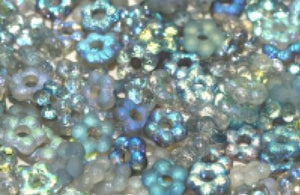 Flower Bead 5mm Crystal Blue Rainbow Etched - 100 beads