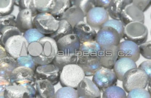 Cabochon 2-hole  6 mm Silver Rainbow Etched  - 25 beads