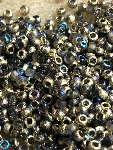 Seed Bead - Etched Golden Rainbow 8/0  - 10 gm tube