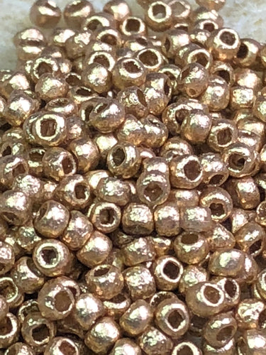 Seed Bead - Etched Aztec Gold 8/0 - 10 gm tube