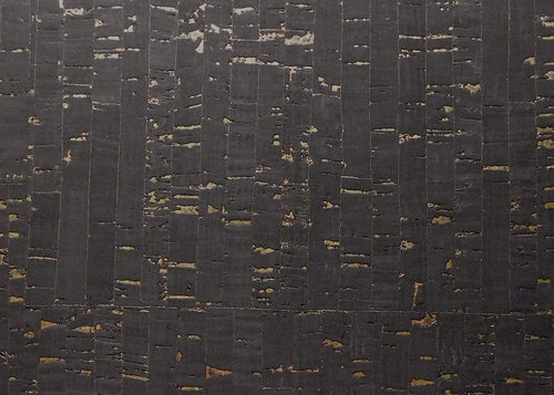 Cork Fabric -Natural Black with Gold