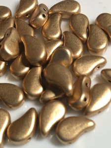 Paisley Duo - 8x5mm Bronze Pale Gold Approx 30 pcs