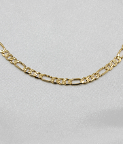 DIAMOND CUT FIGARO CHAIN NECKLACE