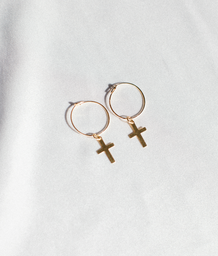 Blessed Gold Filled Cross Drop Hoops