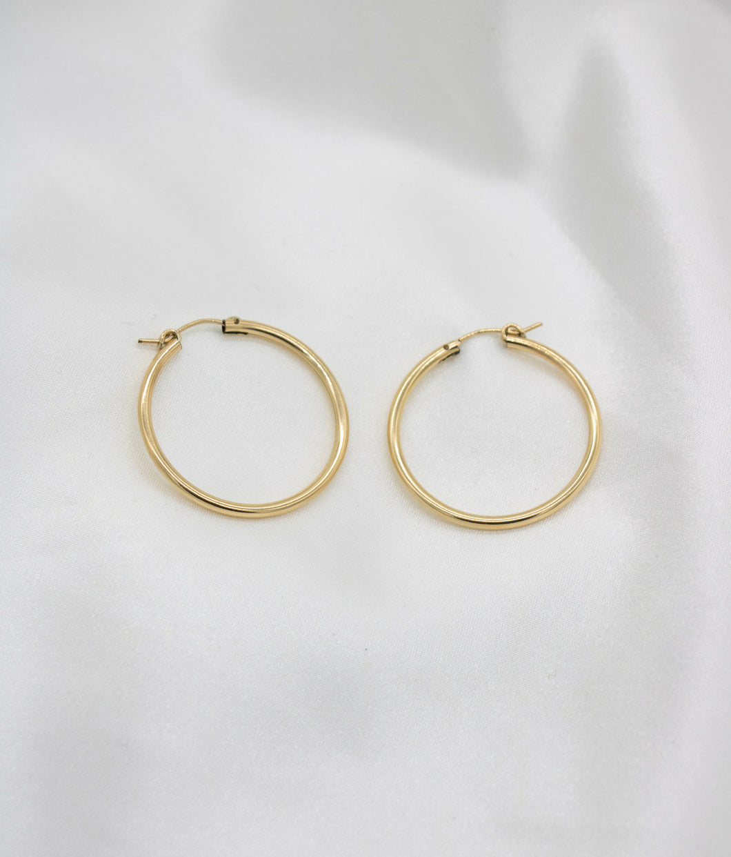 hoops, gold, earrings, accessorize, accessories, cuffs, jewelry, Candela Gold Filled Tube Hoops, gold-filled