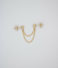 Load image into Gallery viewer, Double Trouble Double Stud Gold Filled Chain Earring
