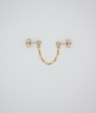 Load image into Gallery viewer, Trouble Double Stud and Chain Gold Filled Earring