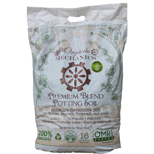 Organic Mechanics Premium Blend Potting Soil, 16 Quart Bag
