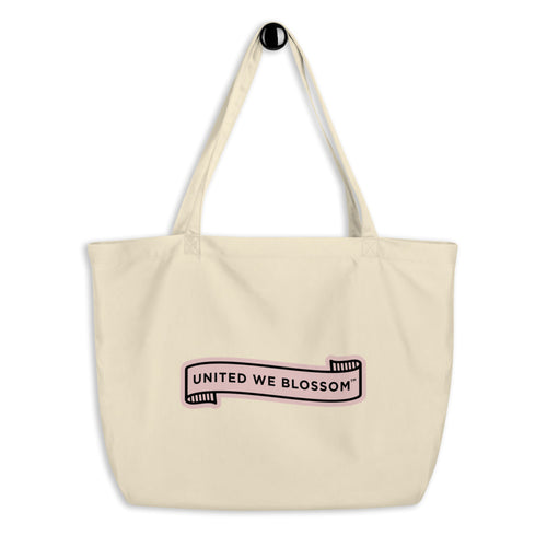 United We Blossom jumbo organic tote bag