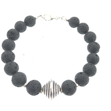 Load image into Gallery viewer, Lava Bead Bracelet - Silver