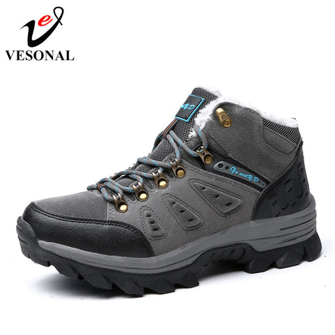 28e45535c890 VESONAL Brand Winter Fur Warm Snow Boots Men Shoes Male Adult Couples Casual  Ankle Rubber Non