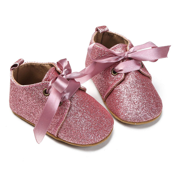 0fa7af3c0952 5 Colors Newborn Baby Shoes Girls Summer Spring Soft Sole Lace Up Sequin  Prewalk Shoes Toddlers