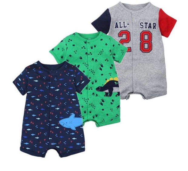 Summer Baby Short Sleeved Jumpsuits 6-24M