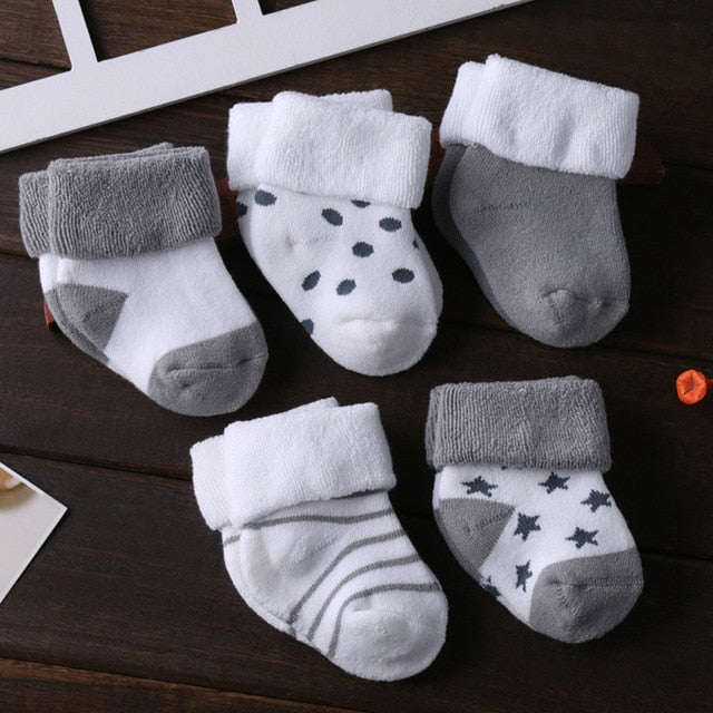 5pack Newborn Soft Socks 3-12M