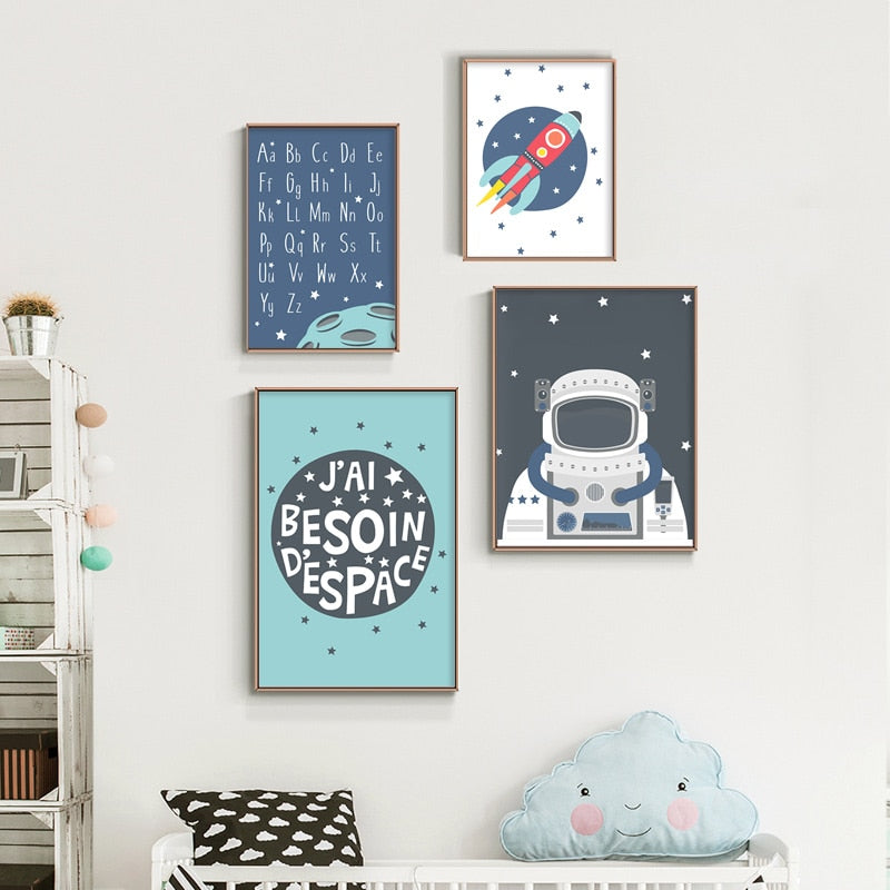 Cartoon Space Theme Wall Art