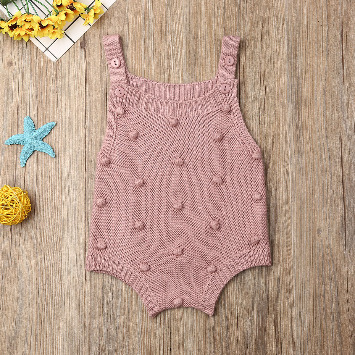 Spring Newborn Baby Clothing Baby Boy Girl Knitted Rompers Solid Jumpsuit Ruffle Sleeveless One-Piece Clothes