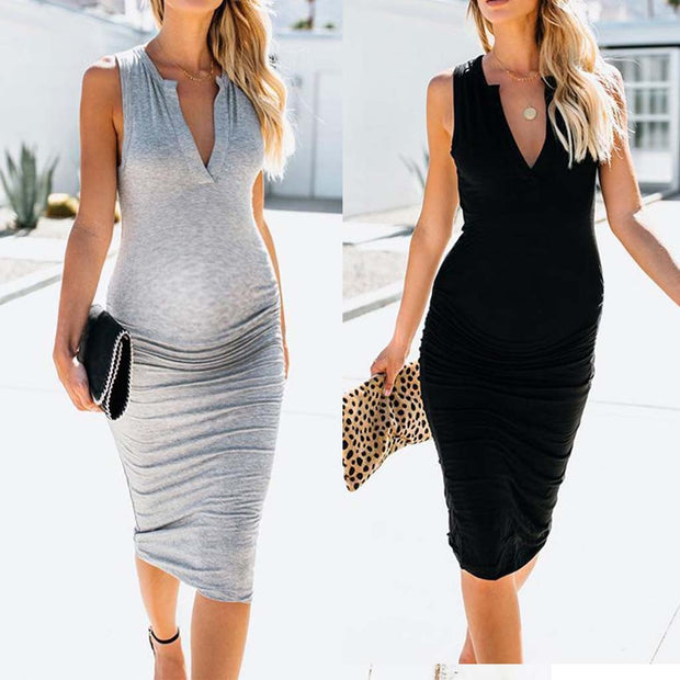 Maternity V-Neck Dress