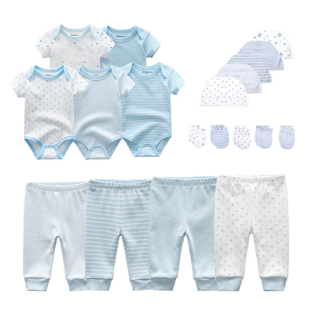 Baby Onesies+Pants+Hats+Gloves 19 piece-Sets