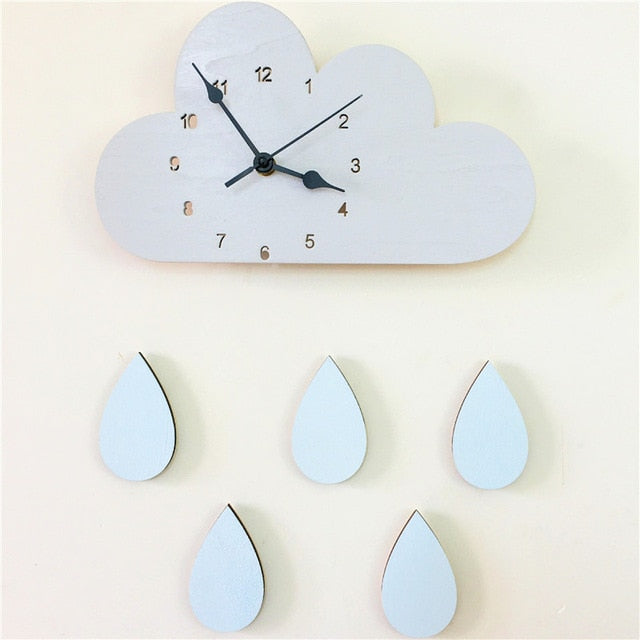 Nordic Wooden Cloud Raindrop Wall Clock