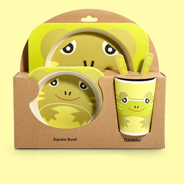 5 piece bamboo feeding bowl set