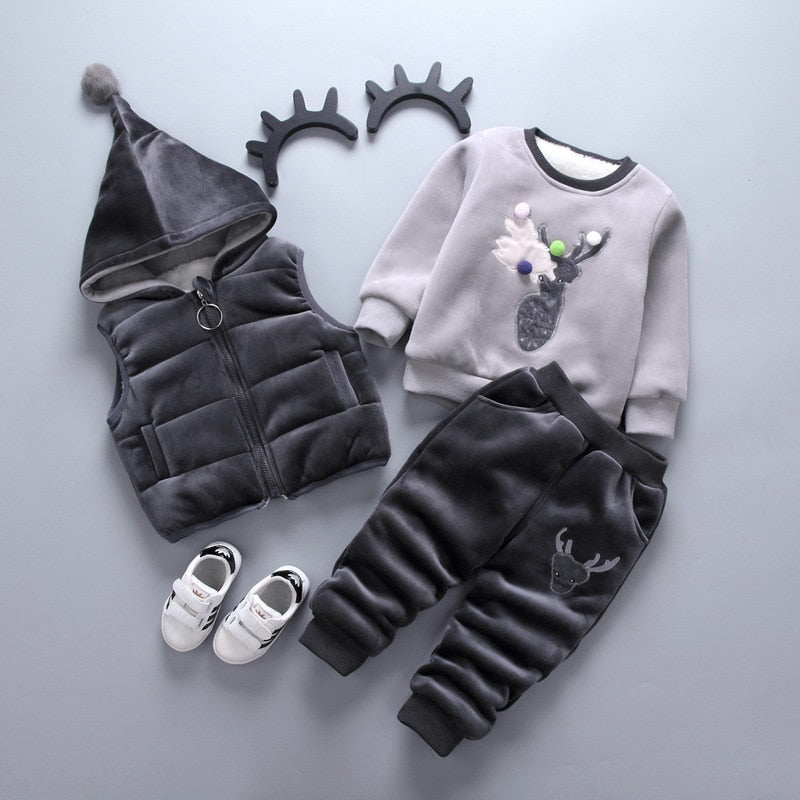3PCS Vest + Long Sleeves + pants Sets