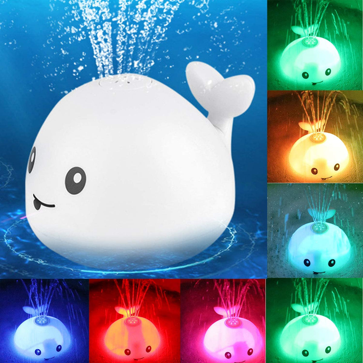 Baby Bath Flashing Light And Spray Whale Toys.