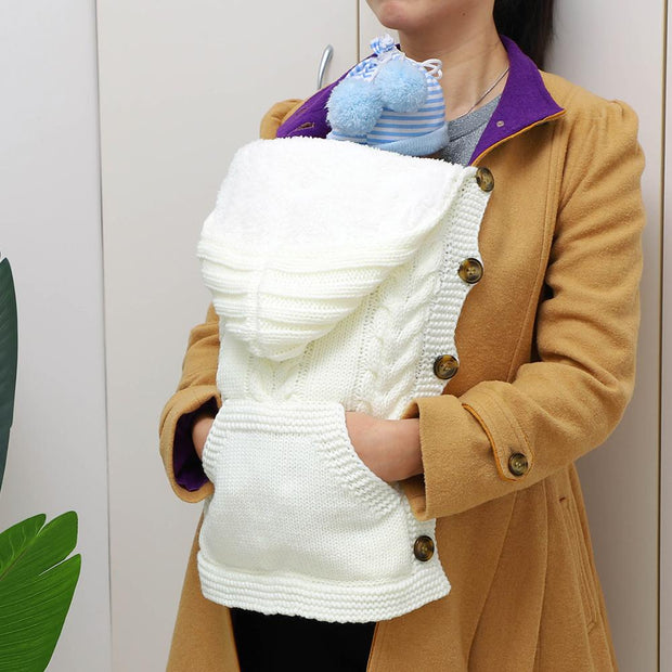 Winter Knitted Swaddle Wrap With Pocket