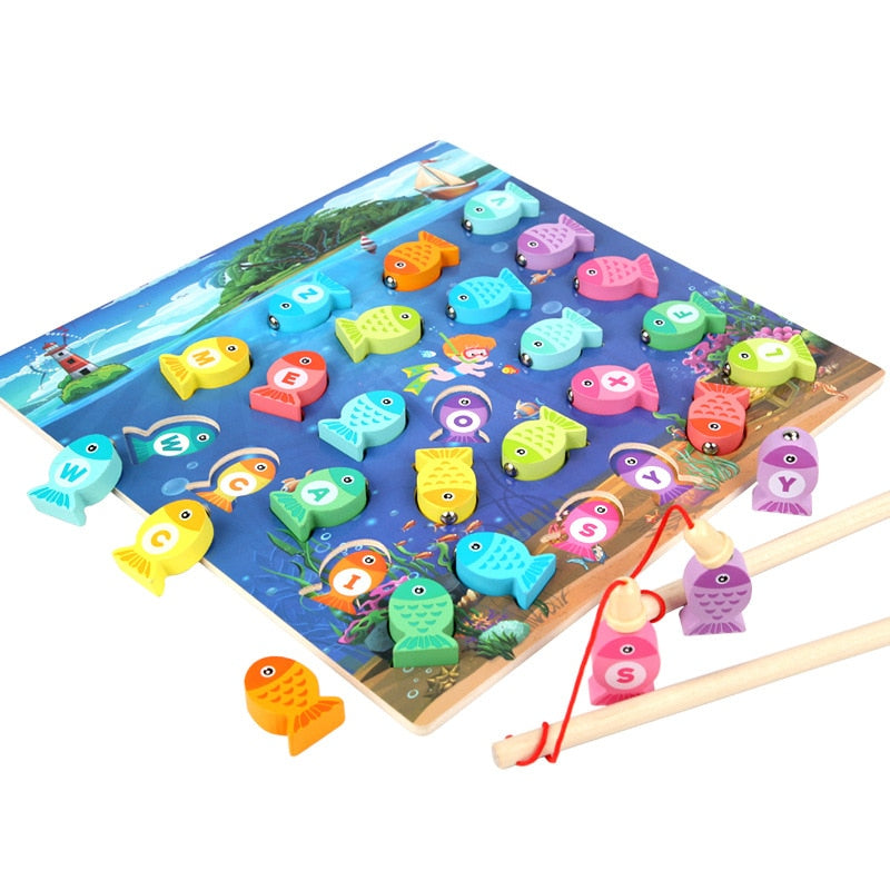 Wooden Montessori Magnetic Fishing Game.