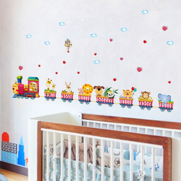 Cartoon Animal Train Wall Decal