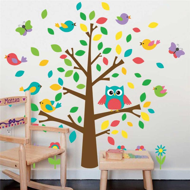 Cute owls birds tree wall stickers