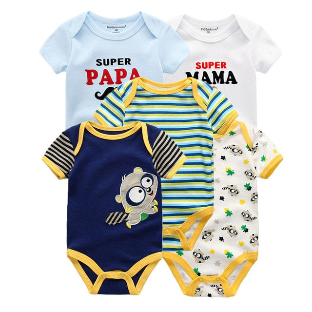 5PCS/Lot Unisex Short Sleeve Baby Rompers 100%Cotton