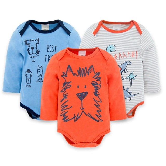 3-pack Baby Long Sleeve Romper sets