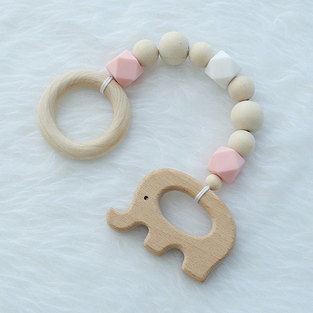 Wooden Elephant/Bird Baby Toys Silicone Beads Teether Nordic Kids Play Gym Toys