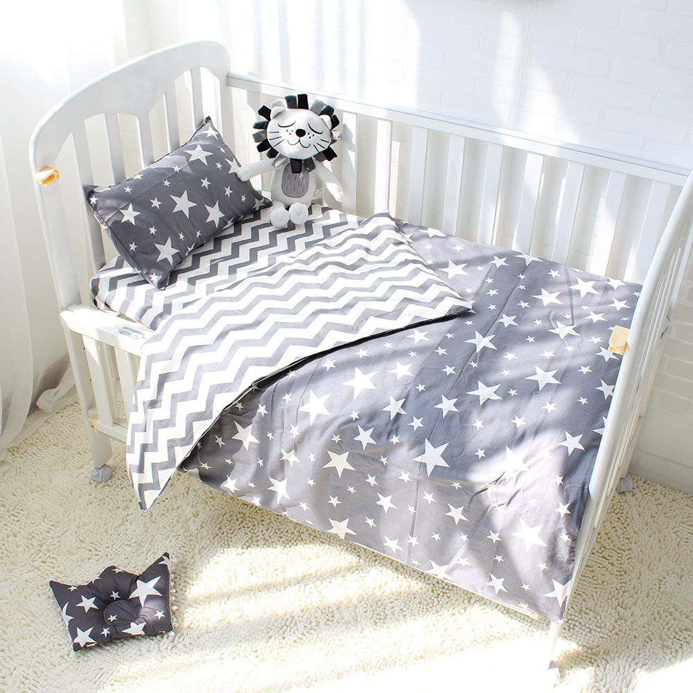 3Pc Cotton Crib Linen Set Includes Pillowcase Bed Sheet Duvet Cover Without Filler - 7 styles