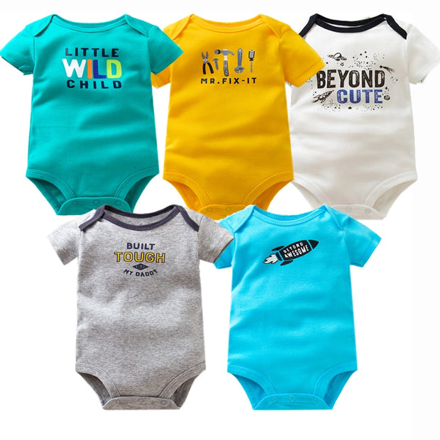 5PCS/Lot Summer Baby Short Sleeve Onesie - 18 sets