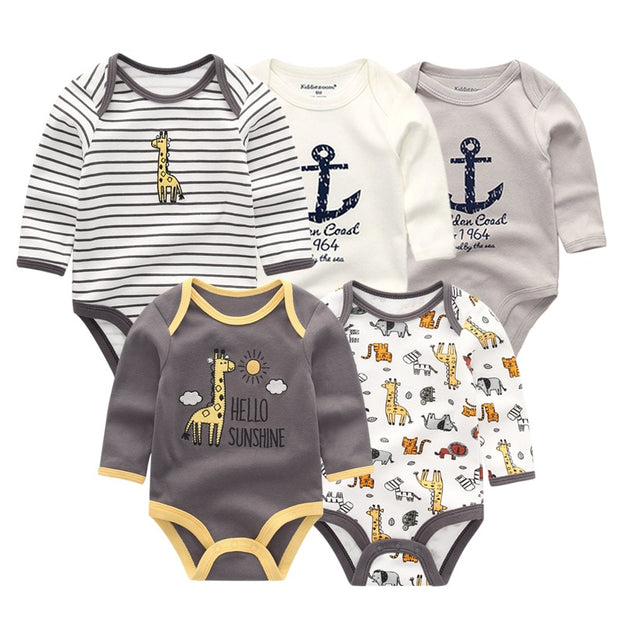 5 PCS/lot newborn Winter Long Sleeve Rompers