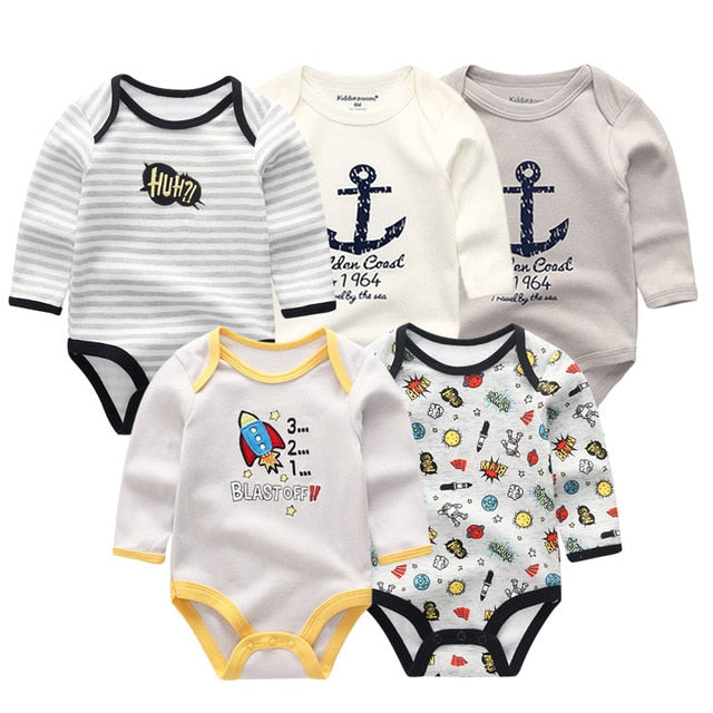 5-pack newborn Winter Long Sleeve Rompers 3-12M