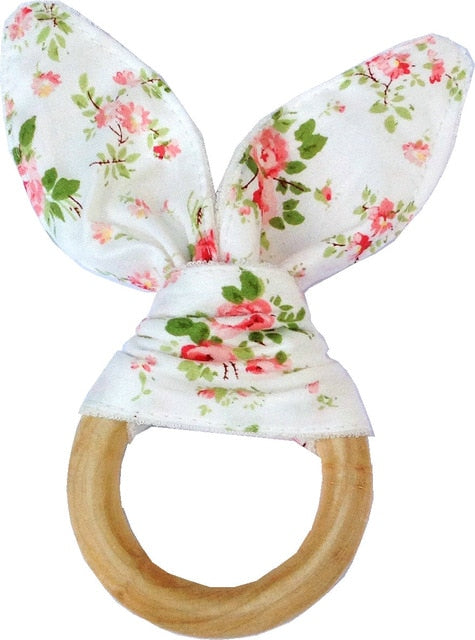 Baby Boy Bunny Ear Teether - Safe Organic Wood Teething Ring - 15 styles