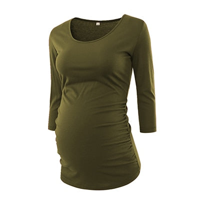 3 Quarter Sleeve Maternity Scoop Neck Jersey Top, singles and sets - 15 colors