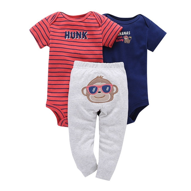 3pc Long Sleeve Romper+Pant Sets 6M-24M